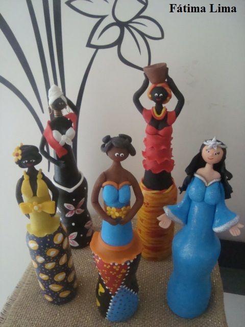 bonecas em garrafas de vidro | bonecas artesanal ...