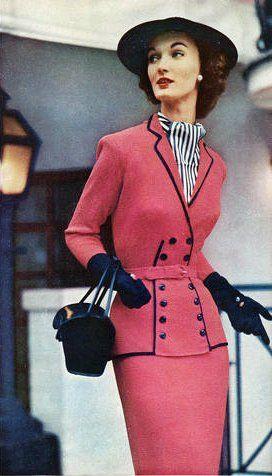evelyn tripp 1952 vintage fashion style color photo print ad model magazine pink black suit jacket skirt blouse hat gloves purse 50s