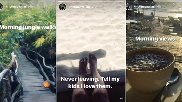 'Tell my kids I love them': Kristin Cavallari falls in love with tropical paradise. Kristen joked with her instagram followers about never wanting to leave her romantic trip with her husband Jay Cutler.