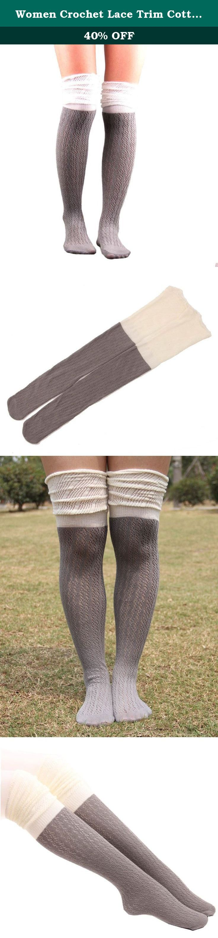 Women Crochet Lace Trim Cotton Knit Leg Warmers Boot Knee High Stocking (Grey&White). Package Content: 1Pair Women Crochet Lace Trim Cotton Knit Footed Leg Boot Knee High Stocking Give your legs a flattering layered look with these darling boot socks! Topped with lace,these socks add depth and feminine flair to your outfit. These socks are thick enough to feel comfortable without adding bulk. A must-have for any boot lover!.
