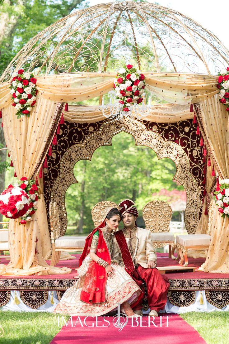 Indian Wedding at Pleasantdale Chateau | Photography by Berit Bizjak of Images by Berit | NJ Wedding Photography | Bride and Groom | Wedding Mandap | Red and gold | Florals by @ElegantAffairs1  | Event planning and design by @StudioSheen