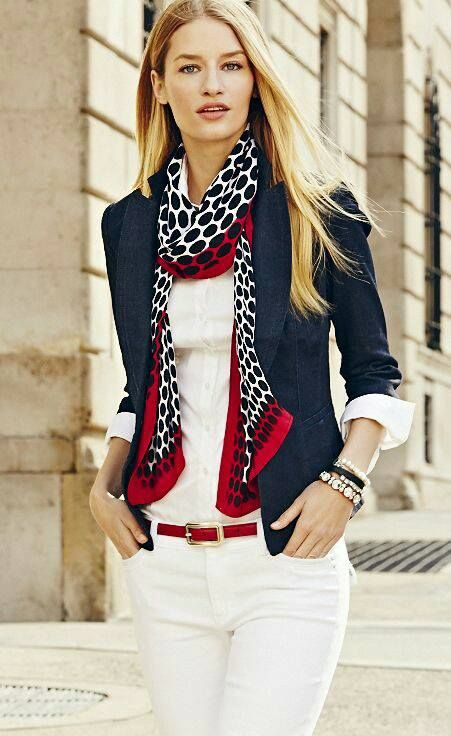 casual #outfit with navy blazer, white top and pants, and polka dot scarf
