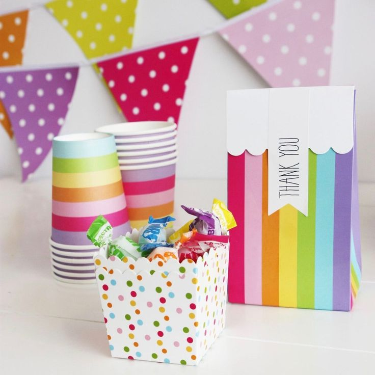 Rainbow Stripe Treat Boxes (12 Pack) – Lucky Lulu Party Shop