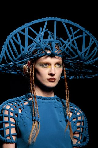 Jean Paul Gaultier Woven Blue Hat Couture