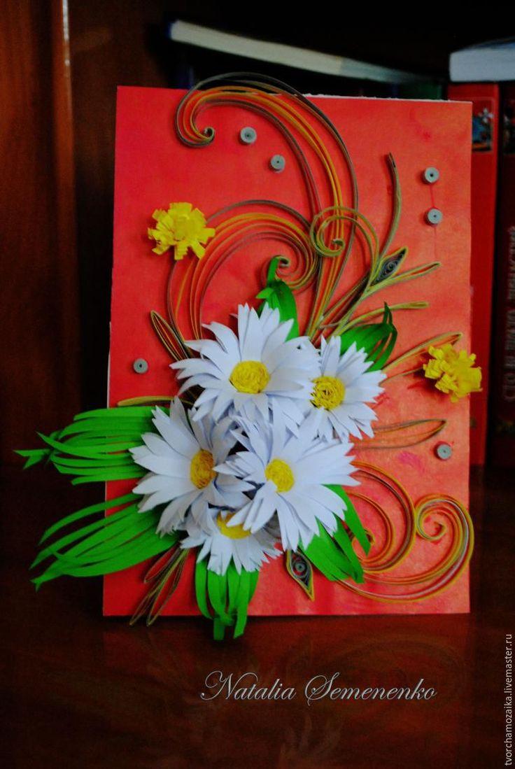 Квиллинг открытки с ромашками