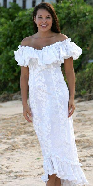 Wailea Wedding Ruffle Muumuu from Hawaiian Outpost
