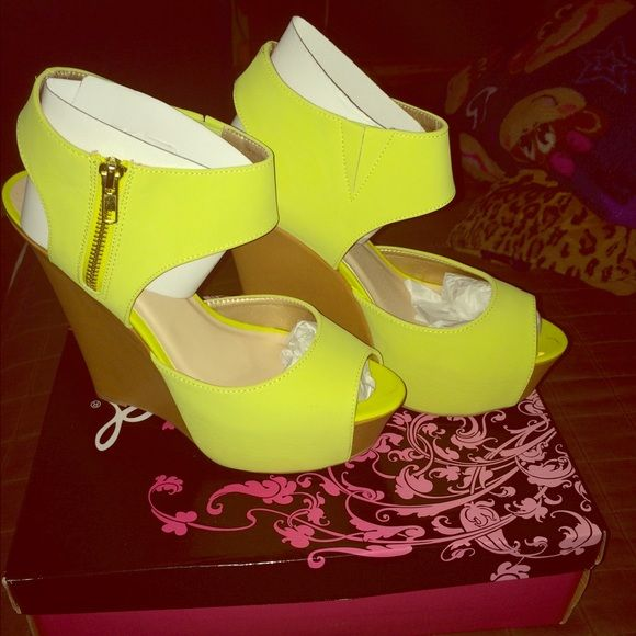 Lime green wedges Lime green and tan zip wedges,only worn once,Make me an offer! Shoes