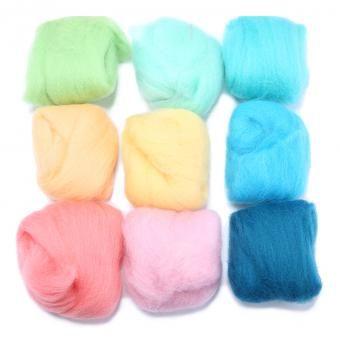 louiwill 36 colores de lana de fibra de lana Hilado de lana para fieltrar Roving aguja de fieltro hilado a mano, color multi