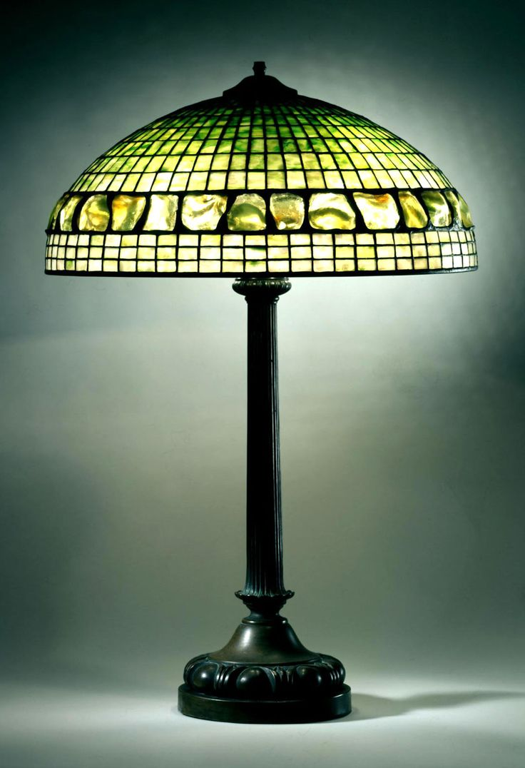 Library Lamp After 1902 Shade No 1482 Turtleback Band Design Dome