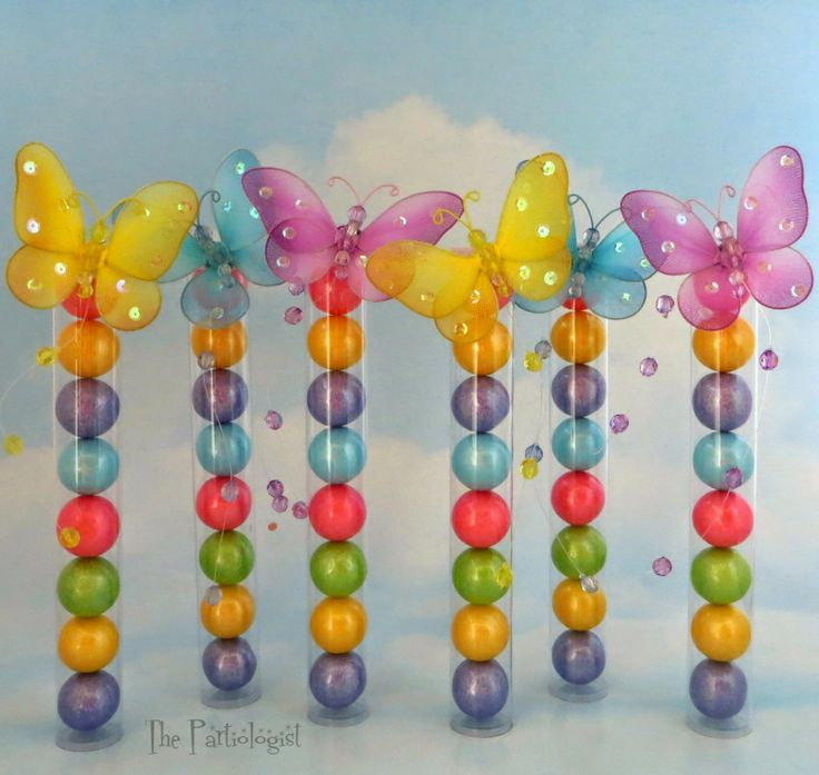 The Partiologist: Beautiful Butterfly Topped Gumball Tubes