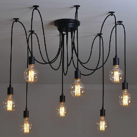 Mordern северные ретро эдисон люстра старинные лофт антикварная регулируемая DIY E27 искусство паук потолочный светильник
