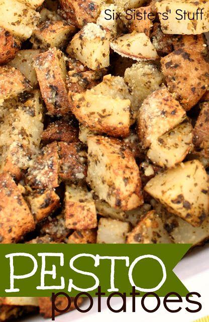 Pesto Potatoes Recipe - My favorite way to eat potatoes! Love Pesto! From sixsistersstuff.com
