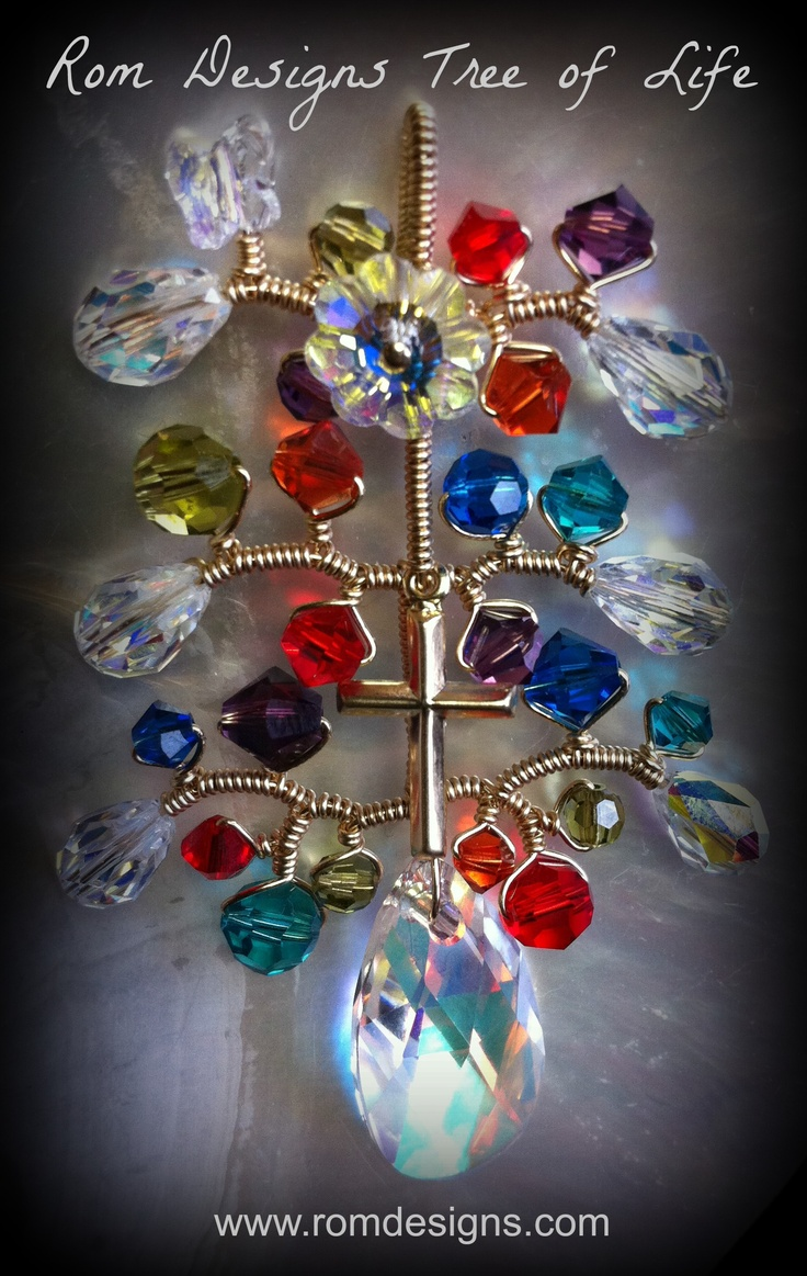 Tree of Life Commemorative Keepsake using Swarovski crystals to represent the colour of the Catholic Education Office of Western Australia. All of these crystals are entwined on one piece of continual Gold Filled wire representing unity and the collaboration of the Catholic Education Office and Parents, working together to provide outstanding educational opportunities for WA children. AUD $280 www.romdesigns.com