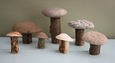 DIY mushrooms of wood, stones and shells. From pirates
