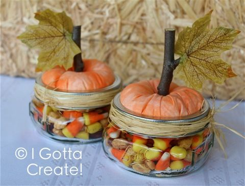 One bag of candy corn. One canister of dry roasted peanuts. Mix together.  Supplies: a little bit of orange fabric, batting or stuffing, a twig, a small 1/2-inch screw, silk leaf, raffia, and a wide-mouth half-pint mason jar.  For tools, you need to know how to use a drill, screwdriver, hot glue gun, and safety glasses.
