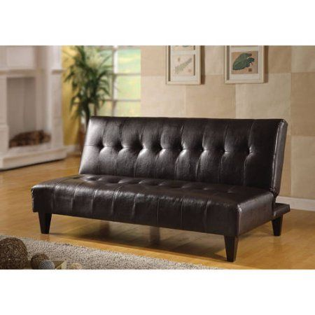 Faux Leather Bycast Adjustable Futon Sofa Multiple Colors Brown