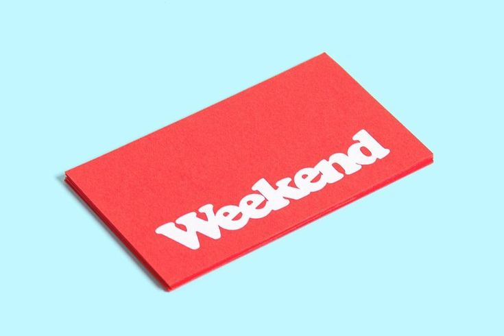 Red paper business card with white ink for coffee shop Weekend designed by RoandCo #BestBusinessCards