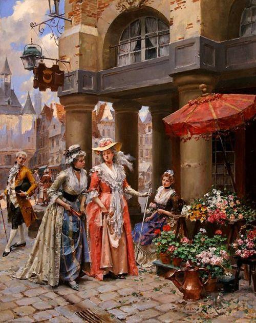 The Flower Market by Henri Victor Lesur. 19th century.
