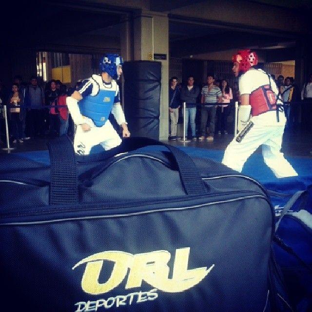 El equipo de Taekwondo realizó una demostración de combates. #URL #Deportes #Landivar #Taekwondo