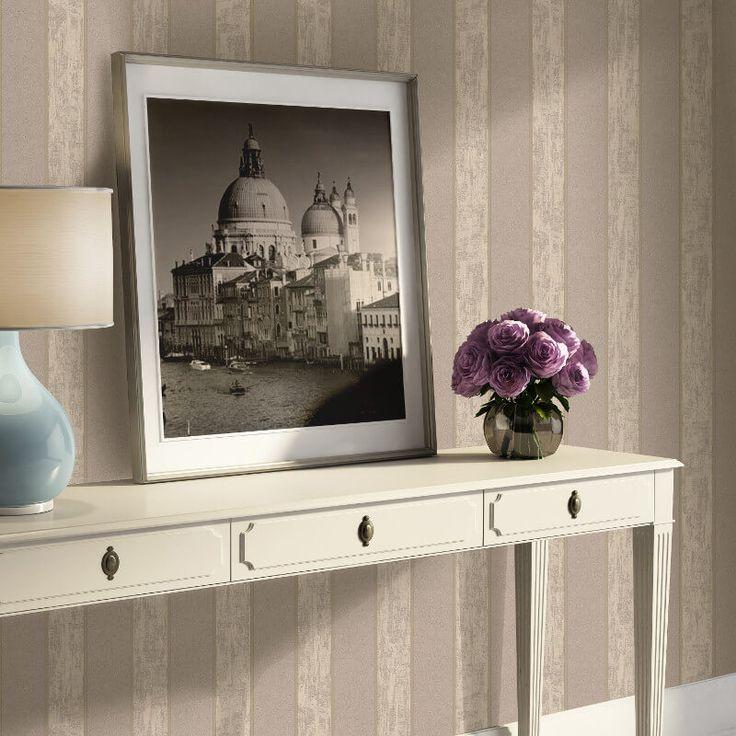 Muriva Seren Stripe Brown Wallpaper - http://godecorating.co.uk/muriva-seren-stripe-brown-wallpaper/