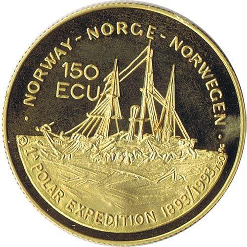 Moneda de oro 150 Ecu Noruega 1993. 100 Años Nansen. Barco.