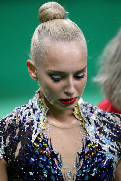 Yana Kudryavtseva of reacts after dropping a club during the Women's Individual All-Around Rhythmic Gymnastics Final on Day 15 of the Rio 2016 Olympic Games at the Rio Olympic Arena on August 20, 2016 in Rio de Janeiro, Brazil.