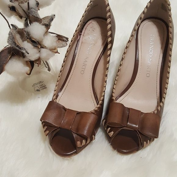 3d68c2453560 Franco Sarto Leather Heels with Bow Size 6.5M