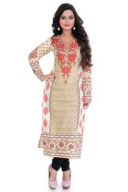 Kurtis,Admyrin,Cream and Beige Cambric Cotton V-Neck Kurti
