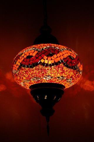 Orange & Red Platt Turkish Hanging Mosaic Pendant