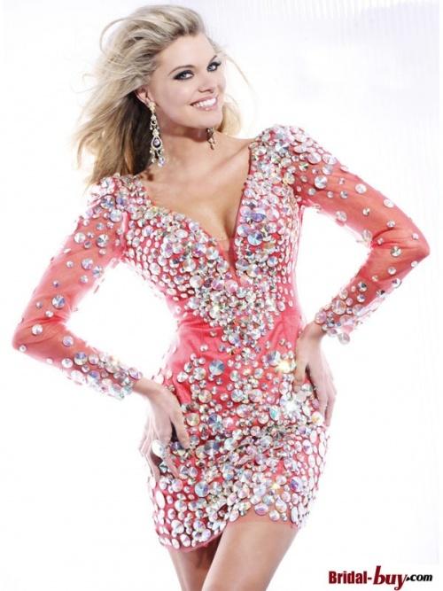 Stunning Luxury Sheath V-neck Rhinestions Short Prom Dress With Sleeves PD-7337