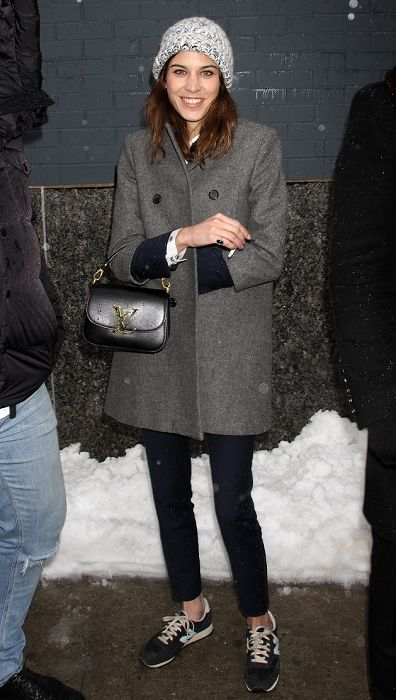 Alexa Chung style. Coat and New Balance trainers.