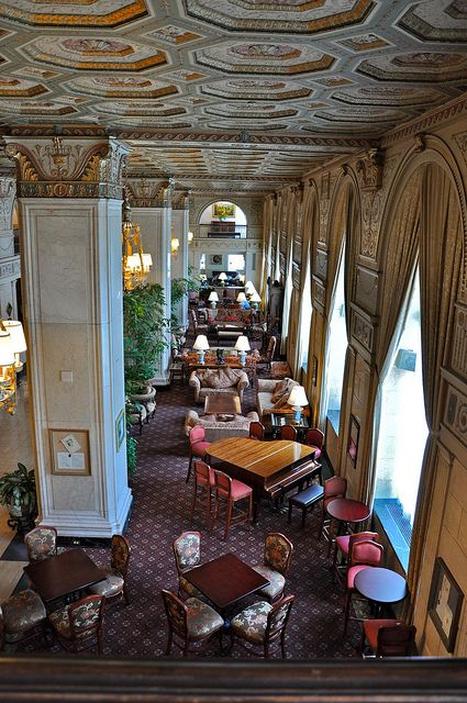 Brown Hotel Lobby, 4th and Broadway St's, Louisville KY, Home of the hot brown. Opened 1923.