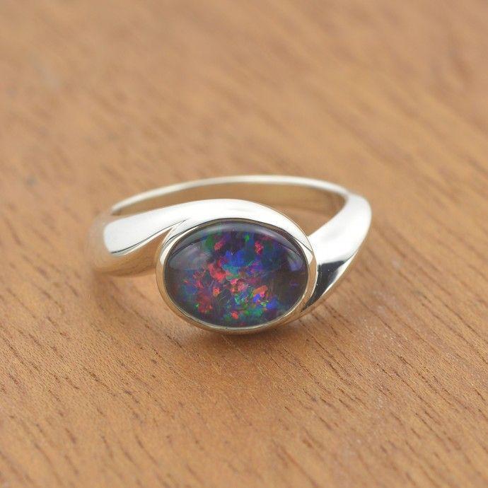 10x8mm Classic Triplet Australian Opal Ring In 925 Sterling Silver Australian Opal Ring Opal Opal Rings