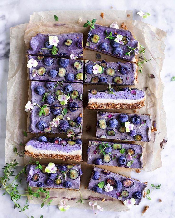 Creamy Blueberry Thyme Raw Cake | by VANELJA