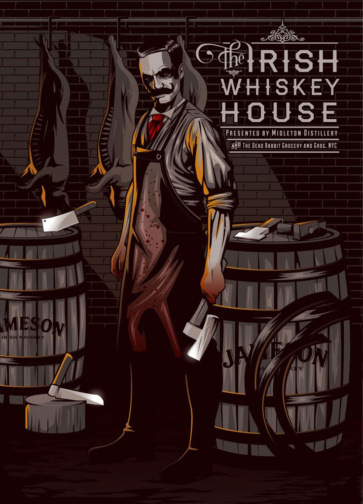 DRINKSOLOGY were commissioned to fulfill all branding including this painstakingly illustrated signage depicting a barrel maker (cooper) / butcher. The cooper depicts the Midleton link and the butcher is a play on the Dead Rabbits link to the original gangs of New York. Spit roasted pig also featured at the Irish Whiskey House pop up bar.
