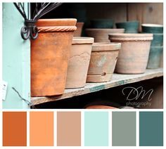 Image result for pale mint and rust orange