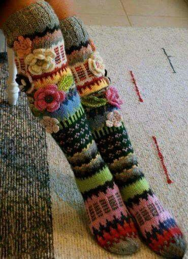 Striped and Flowery Socks
