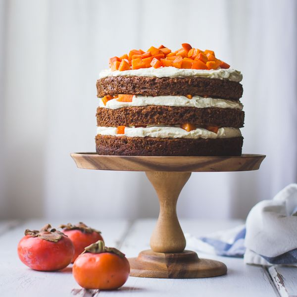 Two-Persimmon Layer Cake with Vanilla Bourbon Cream Cheese Frosting {Gluten-Free}