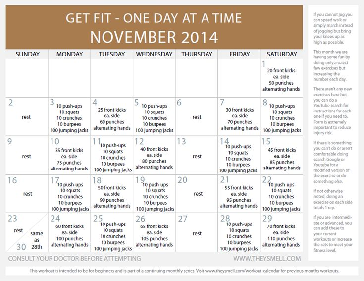 This month I decided to add some martial arts style workout into the mix, punching and front kicks. Martial arts is a GREAT workout, you will be surprises at the muscles you work simply by punching the air. Of course, you actually have to punch hard, no wimpy punches allowed! For the previous months workouts:Monthly …