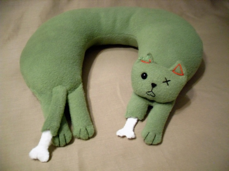 zombie cat neck pillow