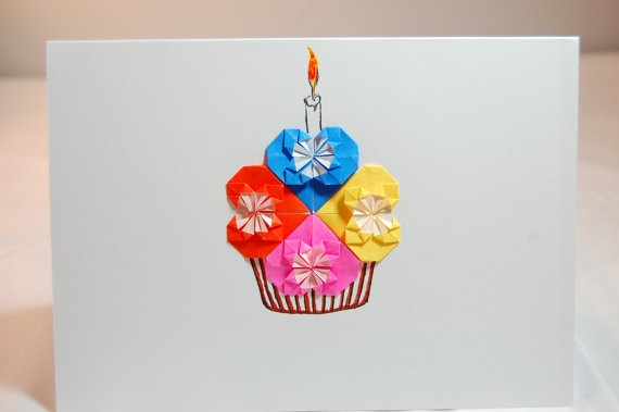 Origami Cupcake Birthday Card  Origami Hearts & by SallysArtistry, $4.99