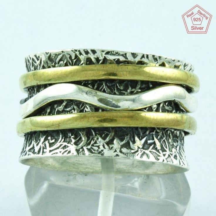Waves Design 925 Sterling Silver & Brass Spinner Ring S.8 US R2919…