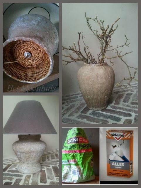 Vaas of lampenvoet in betonlook door besmeren met allesvuller