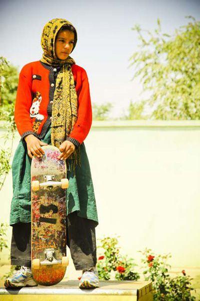 Girl skater in Kabul http://www.bia2.com/review/skatpak.jpg