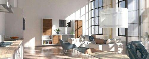 Interieur impressie door 3DL. Fraai appartement met hoog plafond. De hoge industriële ramen zorgen voor een onwijs mooie lichtinval. Er zijn neutrale creme kleuren gebruikt in het ontwerp in combinatie met blauwe accessoires.