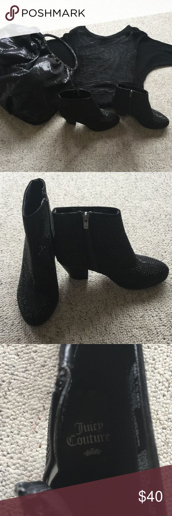 Juicy Couture black sequin ankle boots size 7-1/2 Juicy Couture black sequin ankle boots size 7-1/2, super cute. Excellent condition Juicy Couture Shoes Ankle Boots & Booties