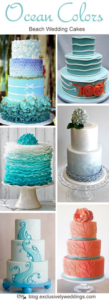 Ocean Colors Wedding Cake - Read more http://blog.exclusivelyweddings.com/2014/04/28/five-perfect-designs-for-your-beach-wedding-cake/