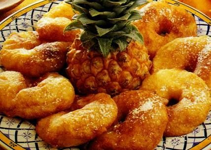 argolas fritas com ananás