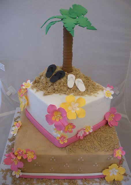 for beach shower cake
