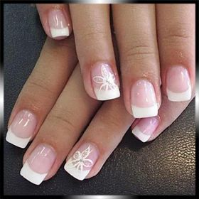 Pretty French manicure with floral accents ~ by Bea & Company